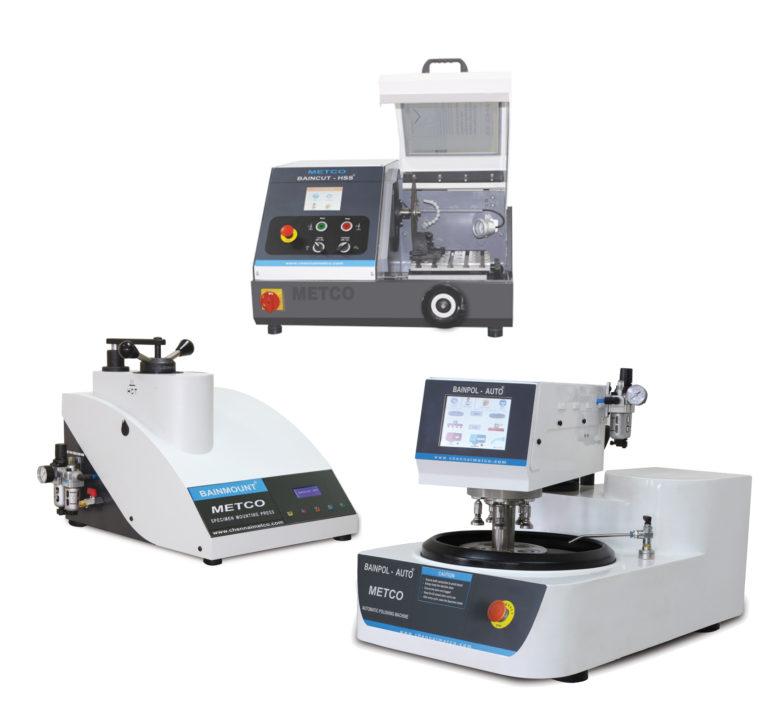 TRONCONNEUSE, ENROBEUSE à CHAUD, POLISSEUSE, Préparation d'échantillons métallographique - Métallographie